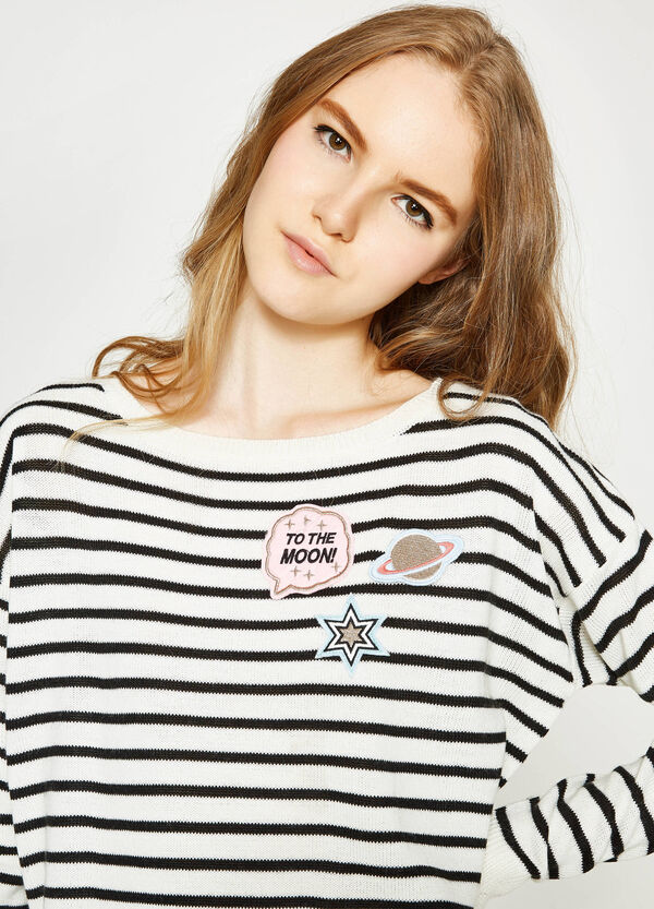 Striped pullover with patches | OVS