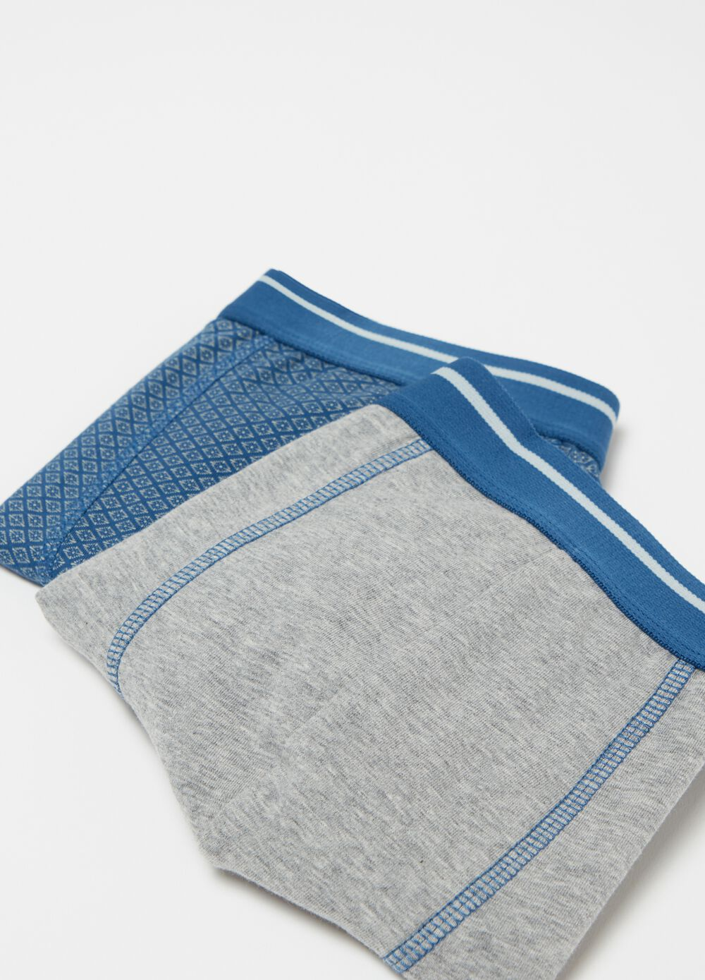 Two-pack stretch cotton boxers with pattern