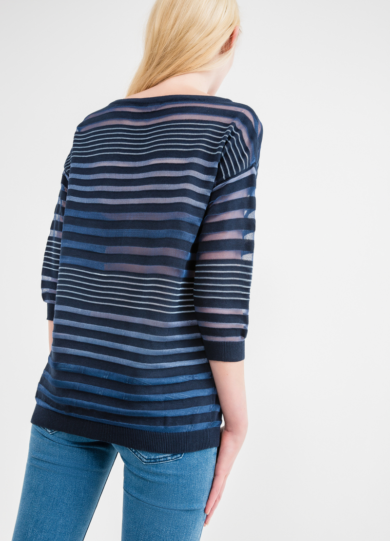 Long semi-sheer striped pullover image number null