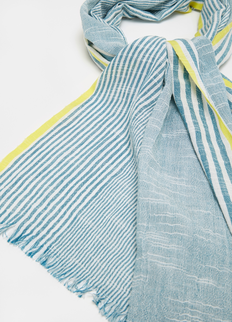 Striped pashmina in cotton image number null