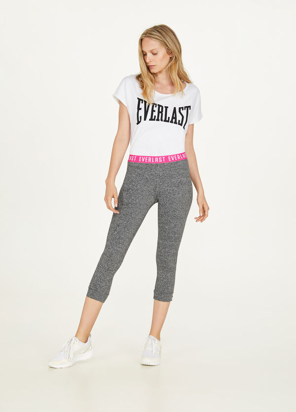 Three-quarter stretch leggings with printed lettering