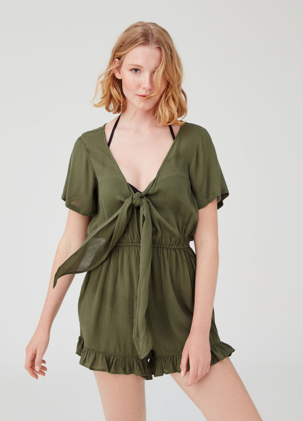 Crossover beach cover-up with floral flounce