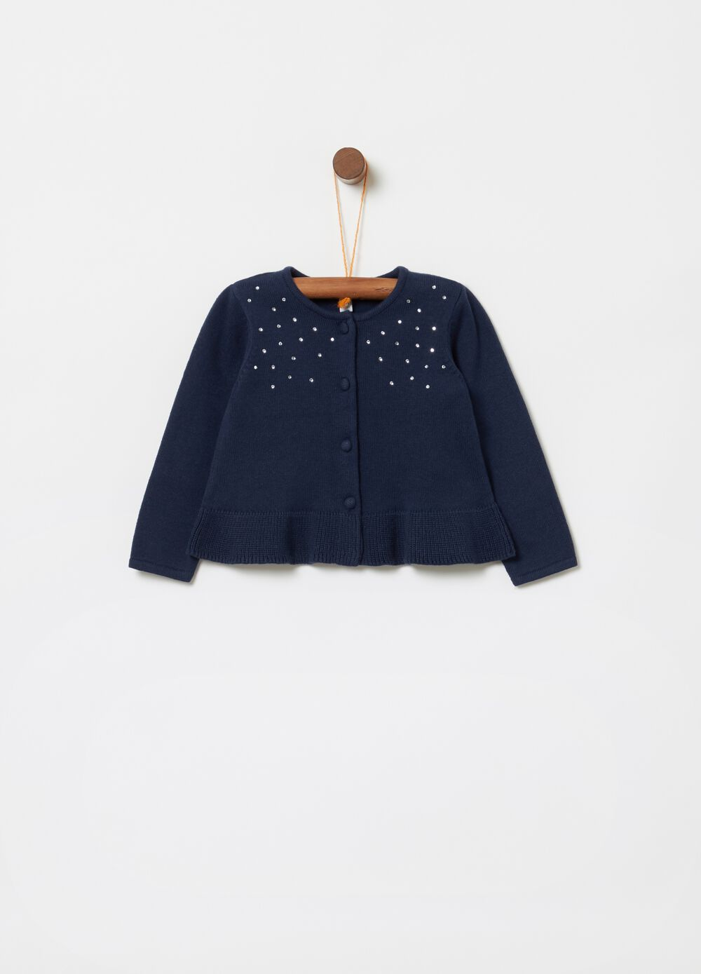 Cardigan stretch tricot con strass