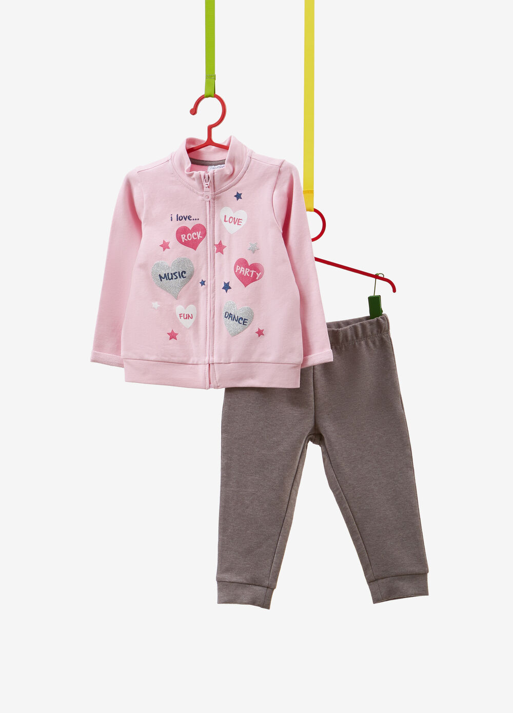Tracksuit in stretch cotton with glitter hearts