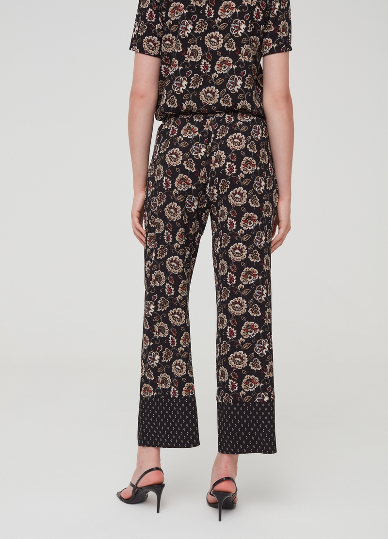 Stretch trousers with high waist and pattern image number null