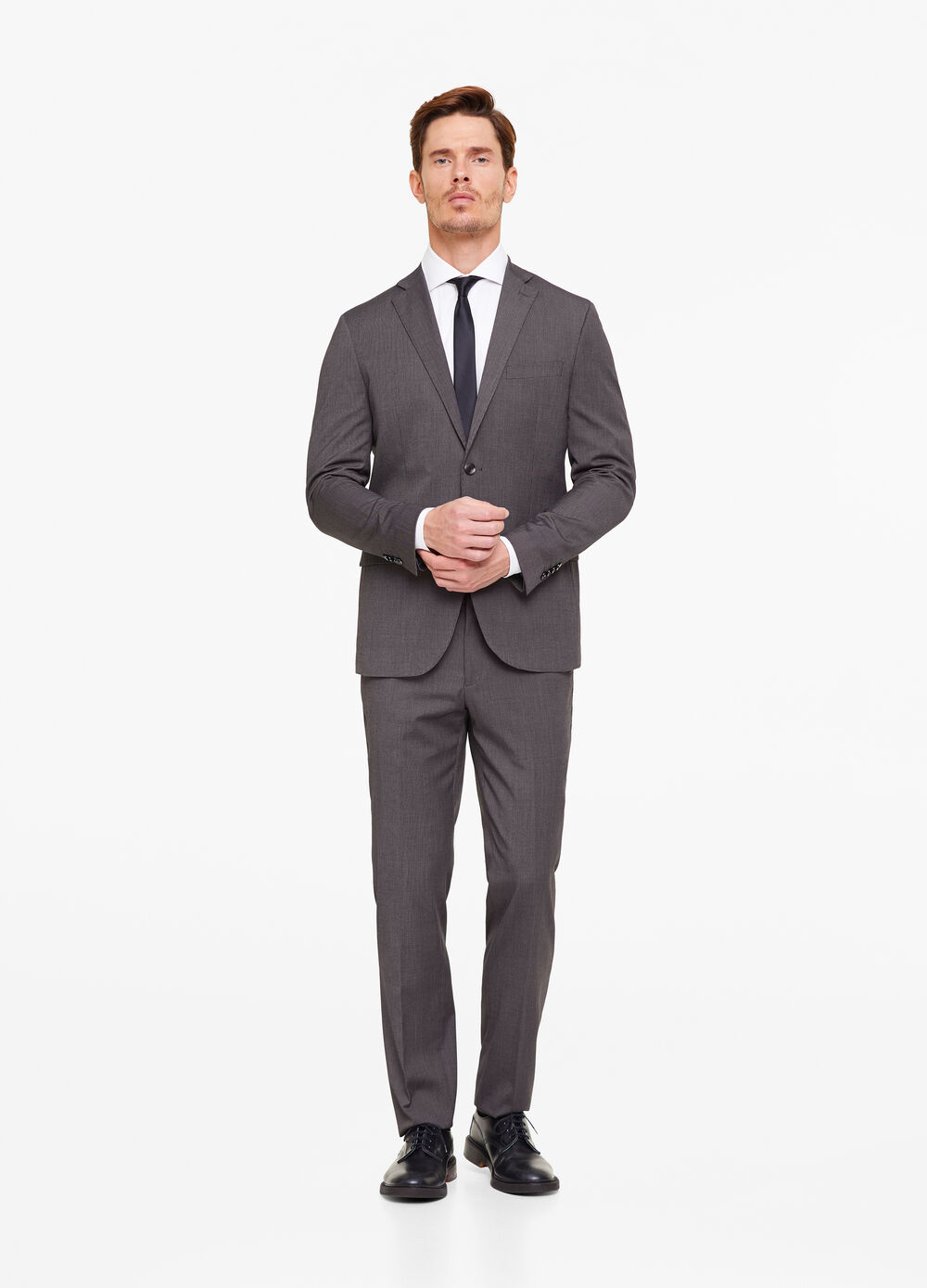 Regular-fit suit in textured fabric