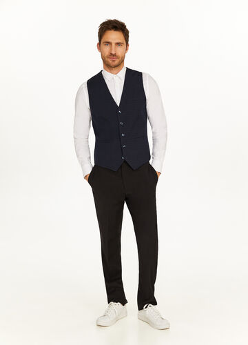 Slim-fit micro-check stretch gilet