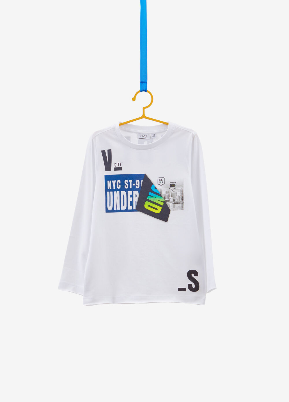 Raw cut cotton T-shirt with print