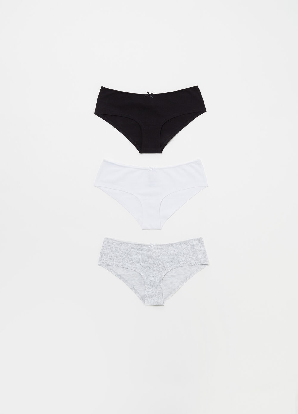 Three-pack stretch BCI cotton briefs with bow