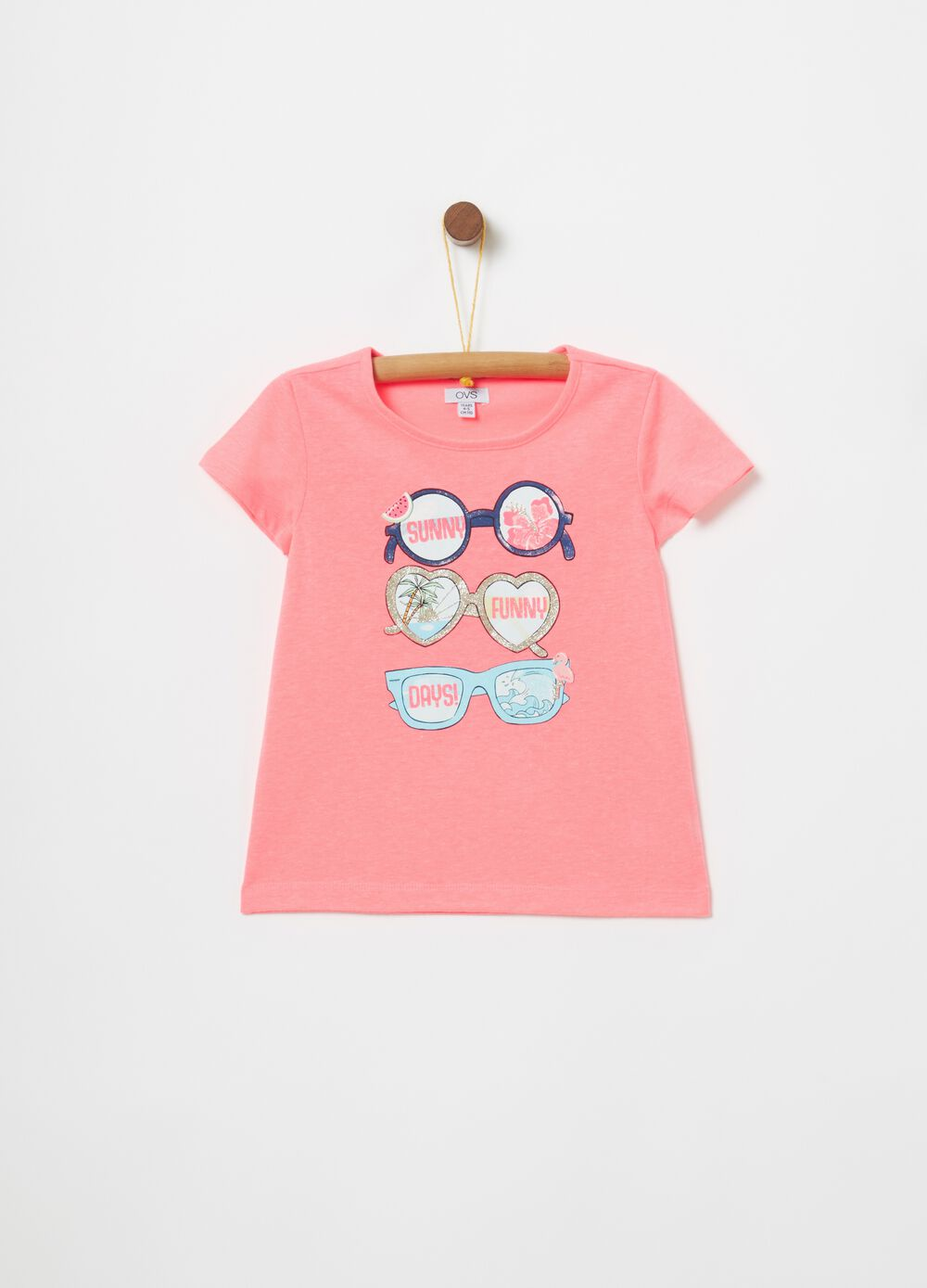 T-shirt in cotone stampa occhiali