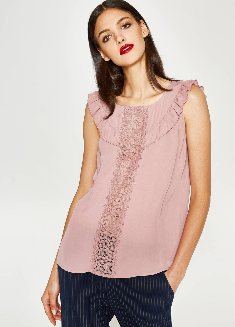 Top with lace and flounce image number null