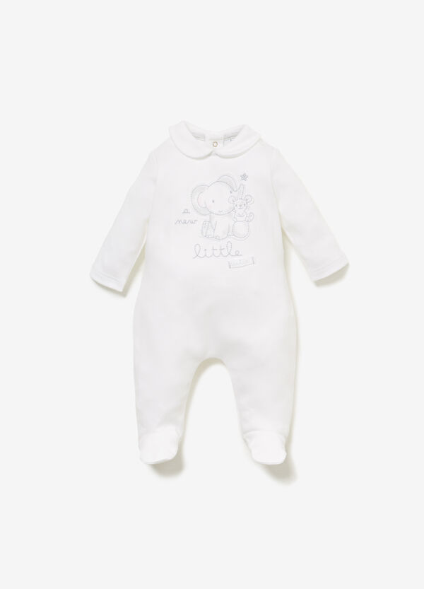 Cotton onesie with embroidery and animal patch