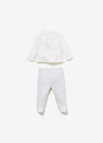 100% cotton outfit with animal embroidery