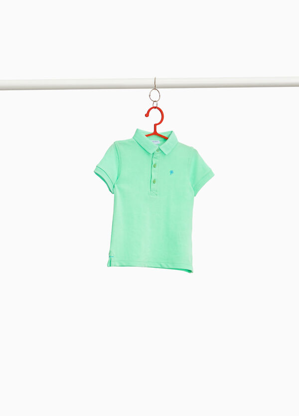 Solid colour polo shirt in cotton blend piquet