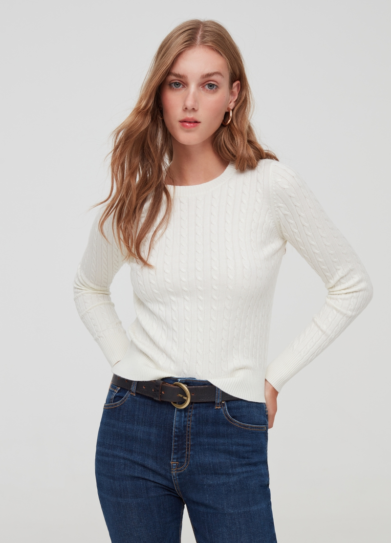 Pullover with braided weave image number null