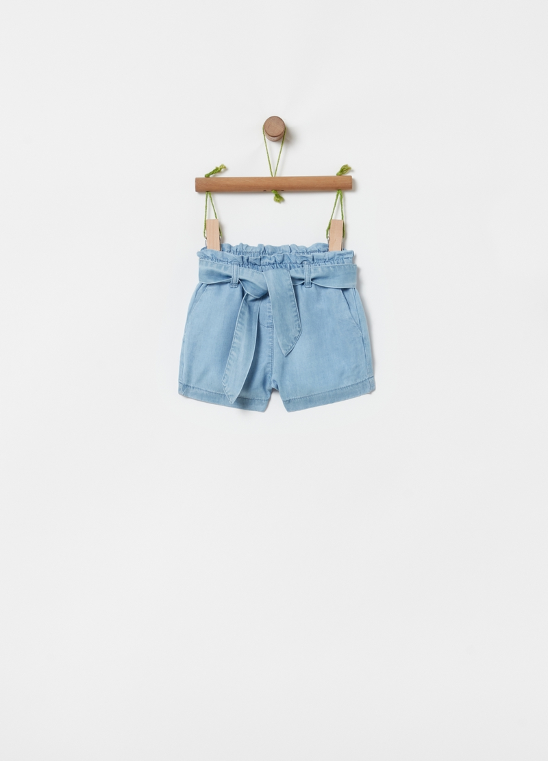Shorts in puro Lyocell effetto denim image number null