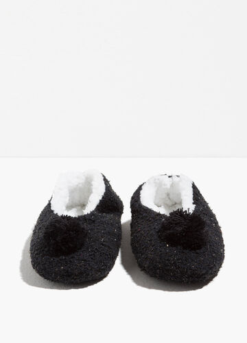 Ballerina slippers with pompoms and lurex