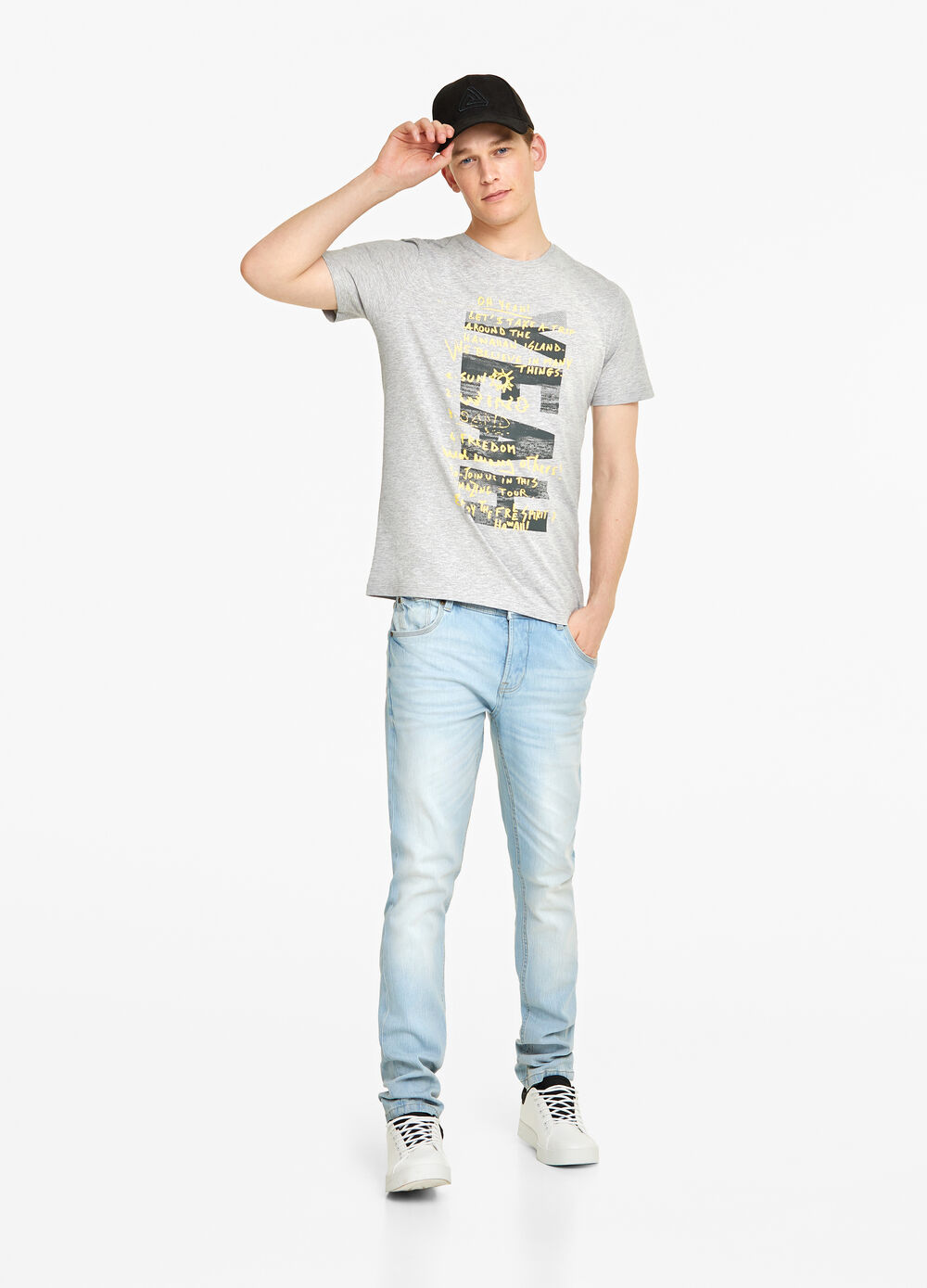 Mélange T-shirt with printed lettering