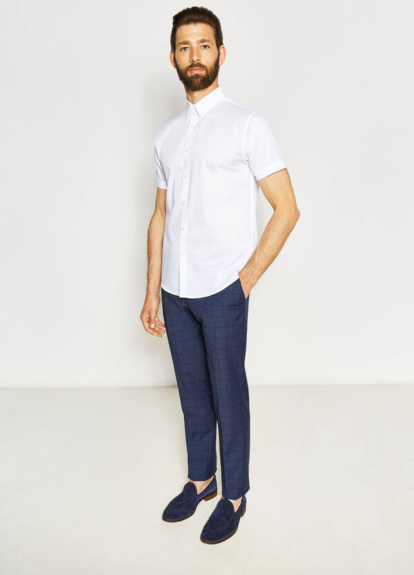 Regular-fit casual shirt with striped weave | OVS