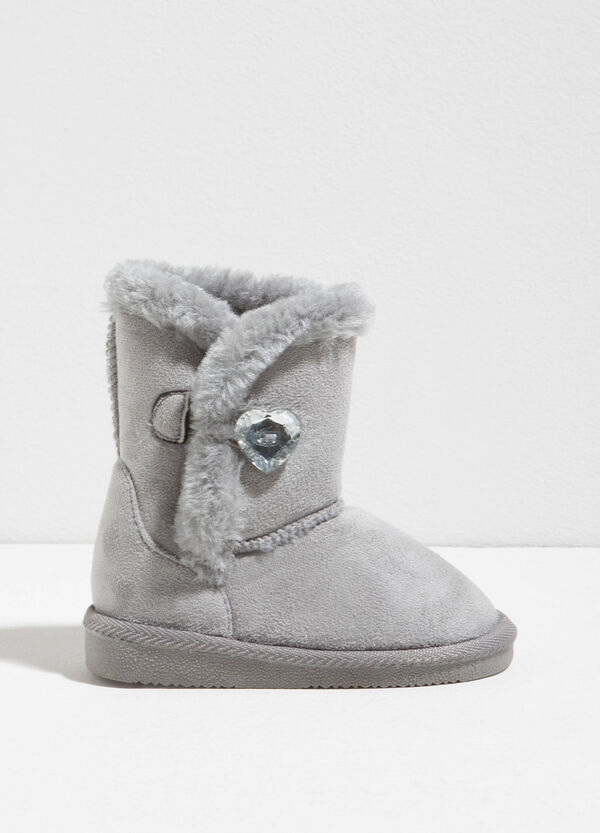 Boots with fur and heart diamantés | OVS