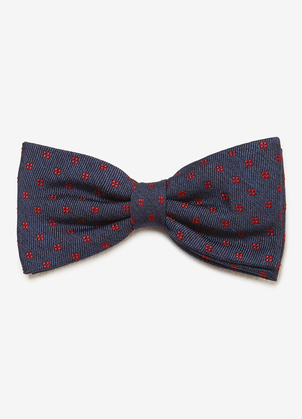 Solid colour bow tie with micro check weave
