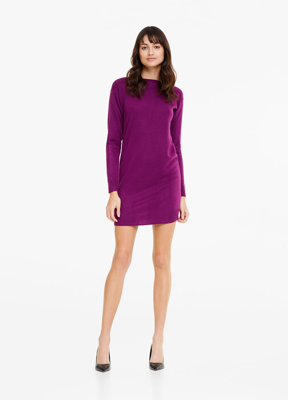 Solid colour dress with knitted design