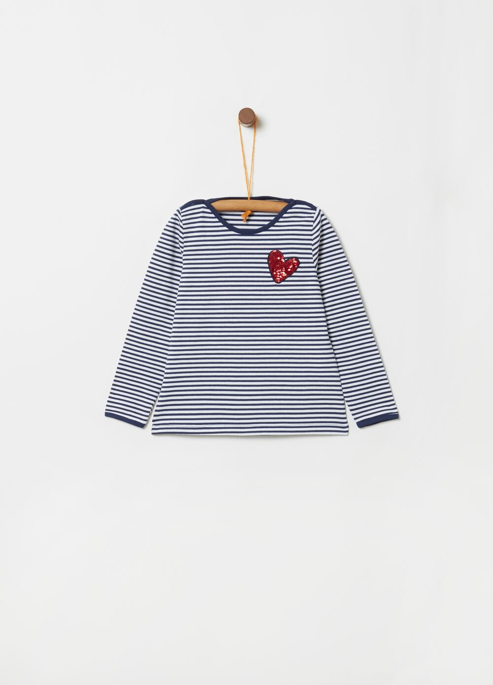 T-shirt biocotton paillettes a cuore e righe