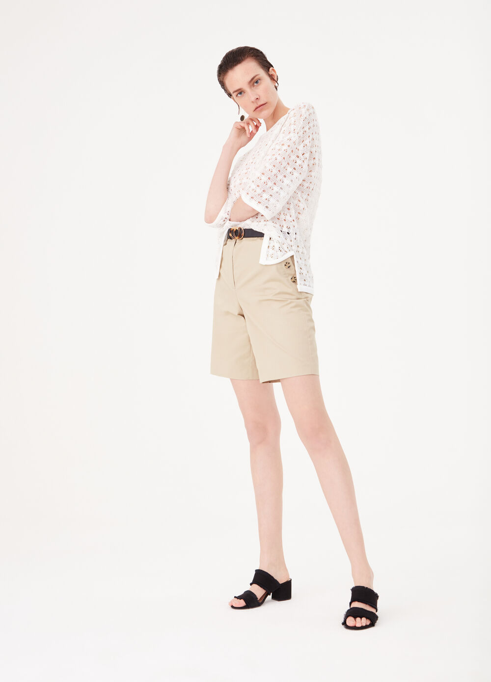 100% cotton trousers with high waist