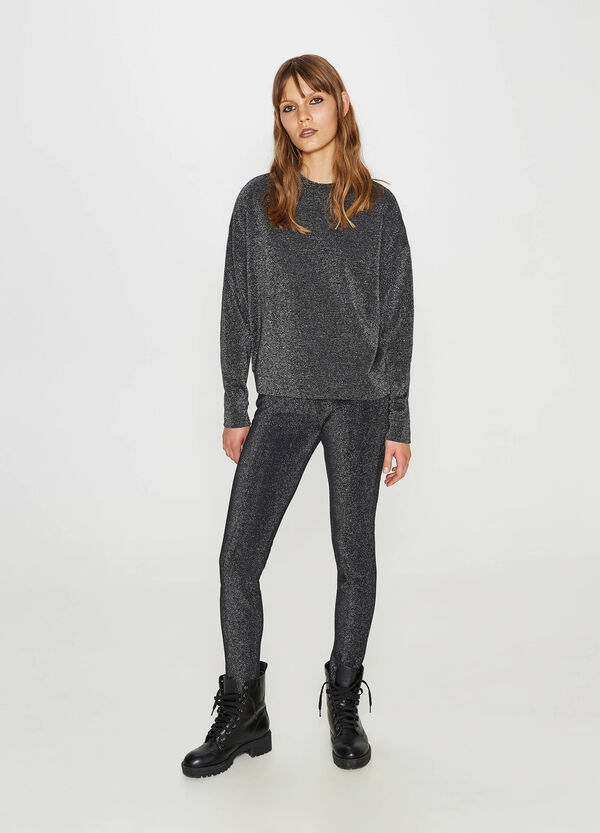 Cotton and viscose sweatshirt with lurex | OVS