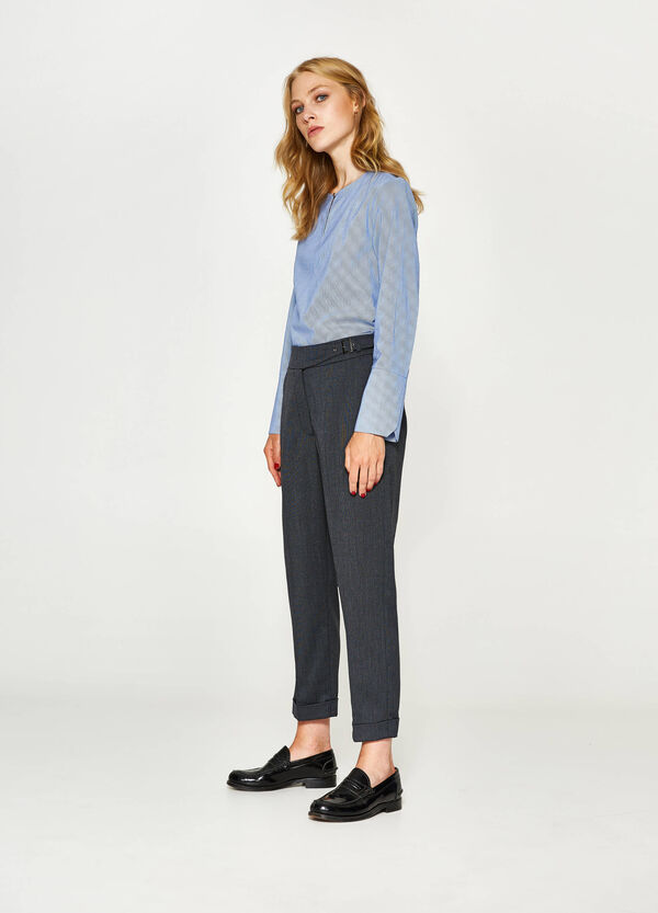 Viscose trousers with micro stripes | OVS
