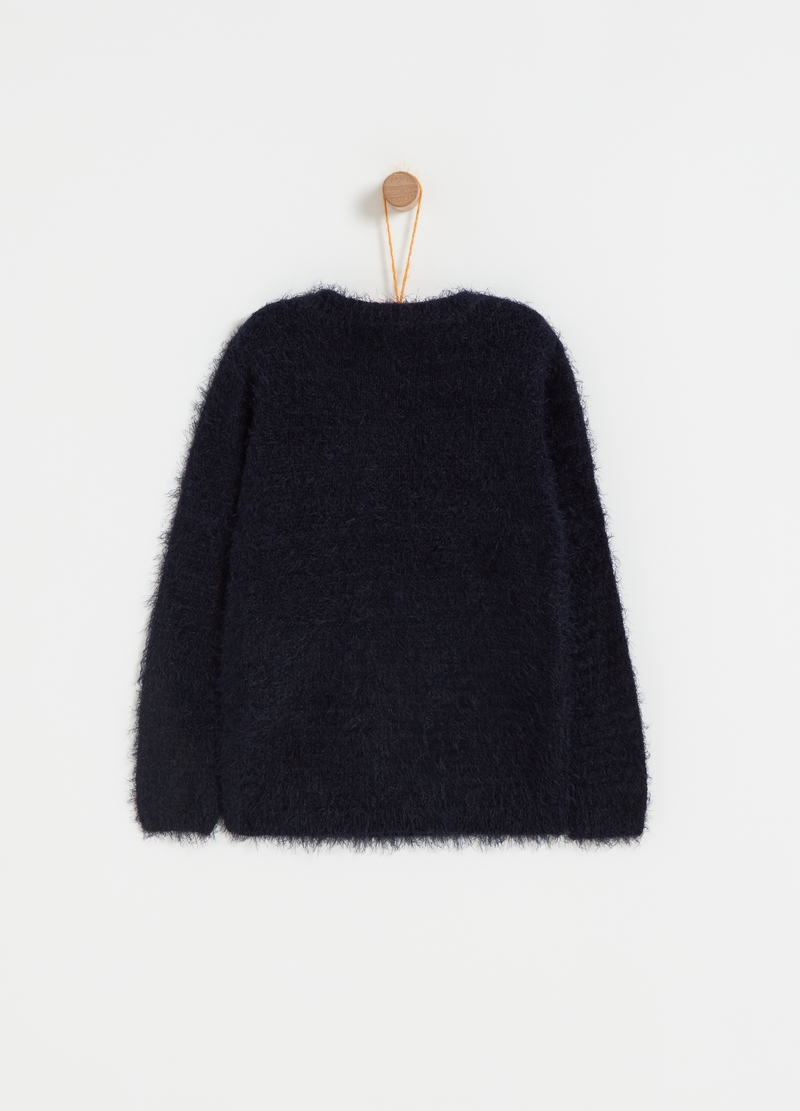 Pullover oversize ricamo renna di Natale image number null
