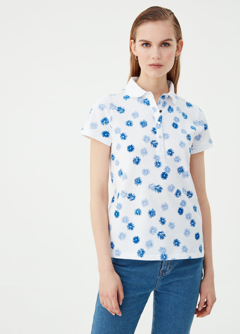 Organic cotton polo shirt with floral print