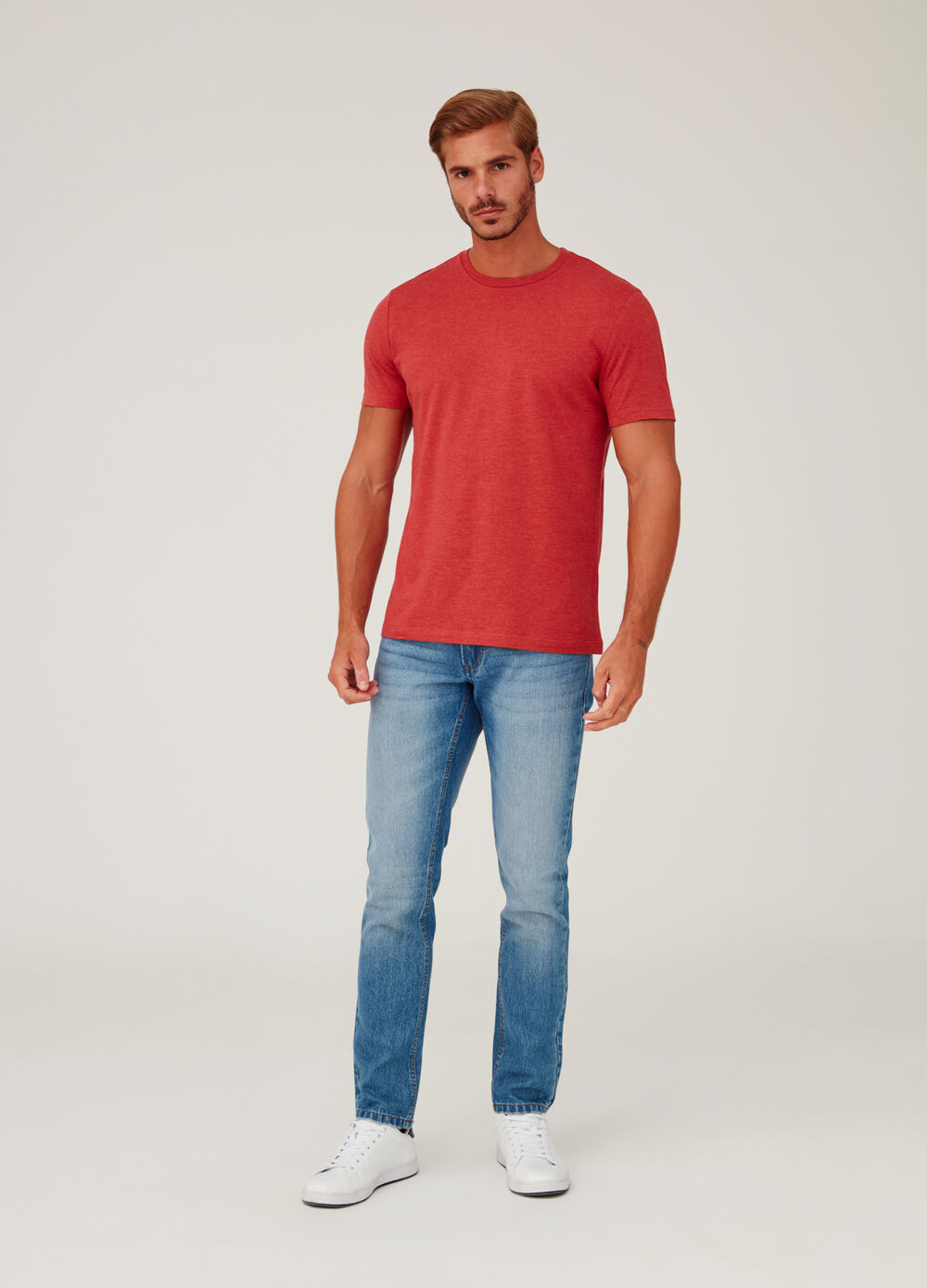T-shirt in stretch jersey with ribbing