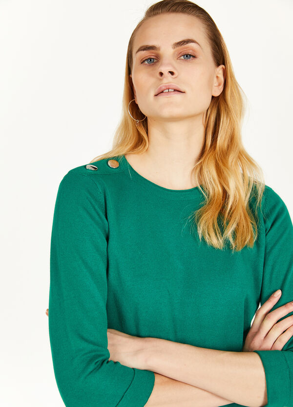 Cotton blend pullover with buttons