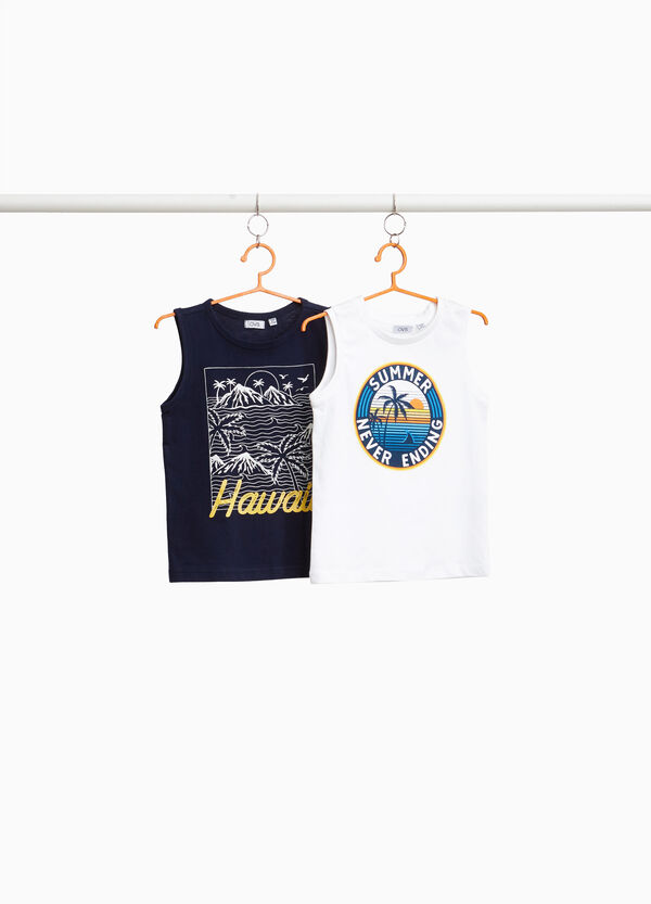 Two-pack cotton palm tree vest tops