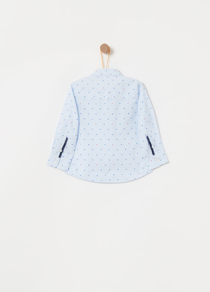 Cotton shirt with polka dot pattern