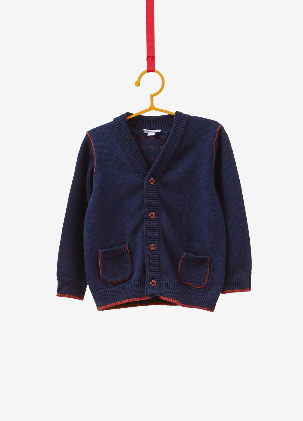 Cotton and wool blend cardigan with trim