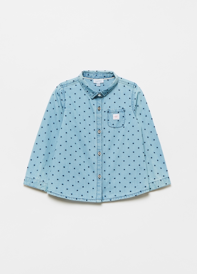 Camicia in denim ricamo pois all-over image number null