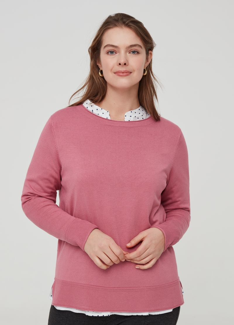 Curvy solid colour knitted pullover image number null