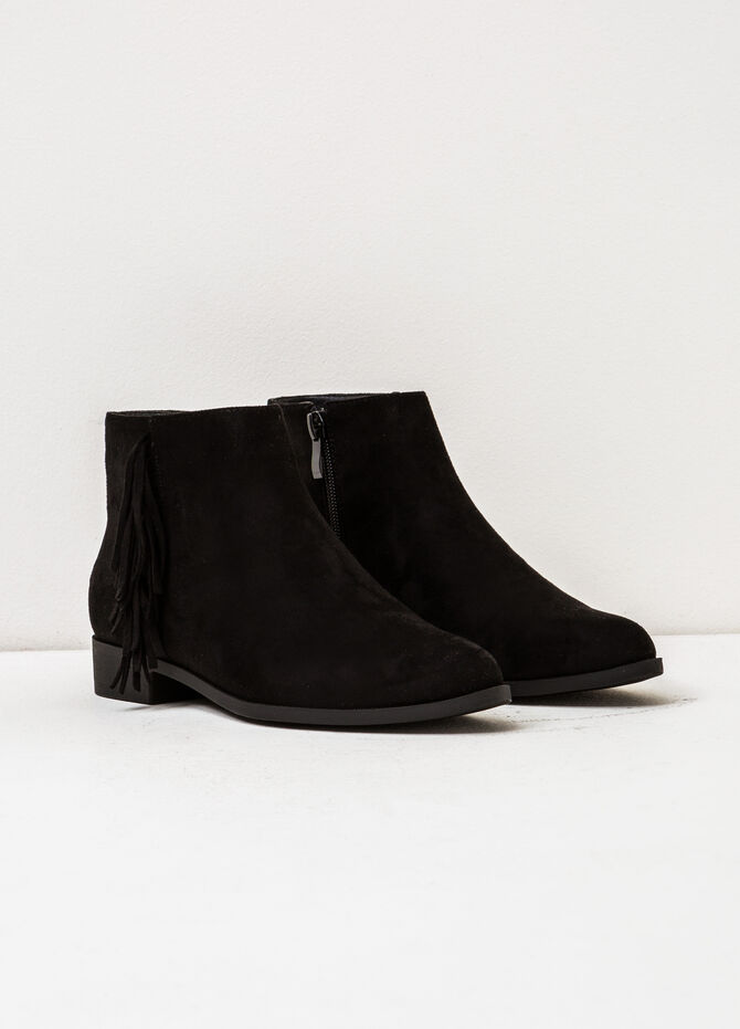 Suede ankle boots with fringe