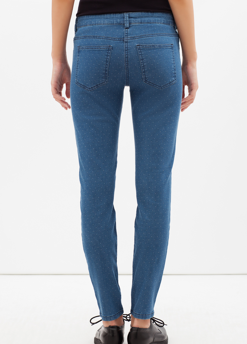 Jeans stretch con micro pois bianchi image number null