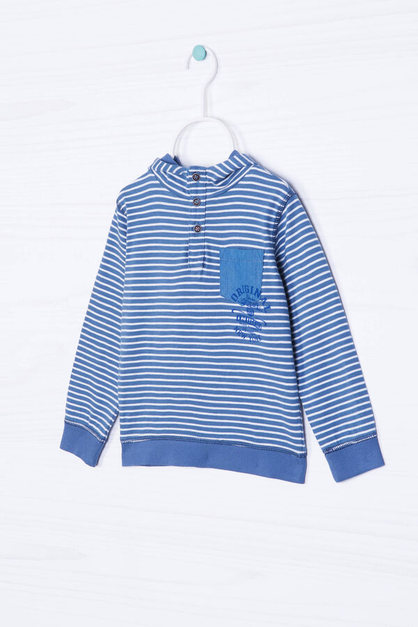 Cotton hoodie with striped pattern | OVS