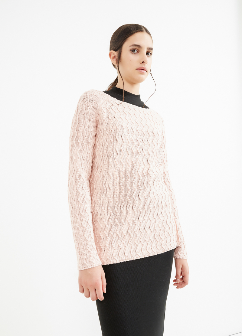 Cotton striped weave pullover image number null