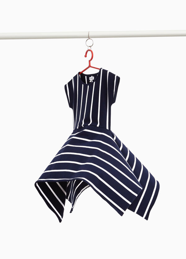 Stretch striped cotton dress