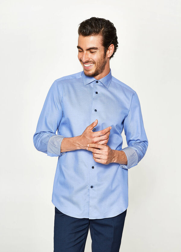 Camicia formale slim fit a pois