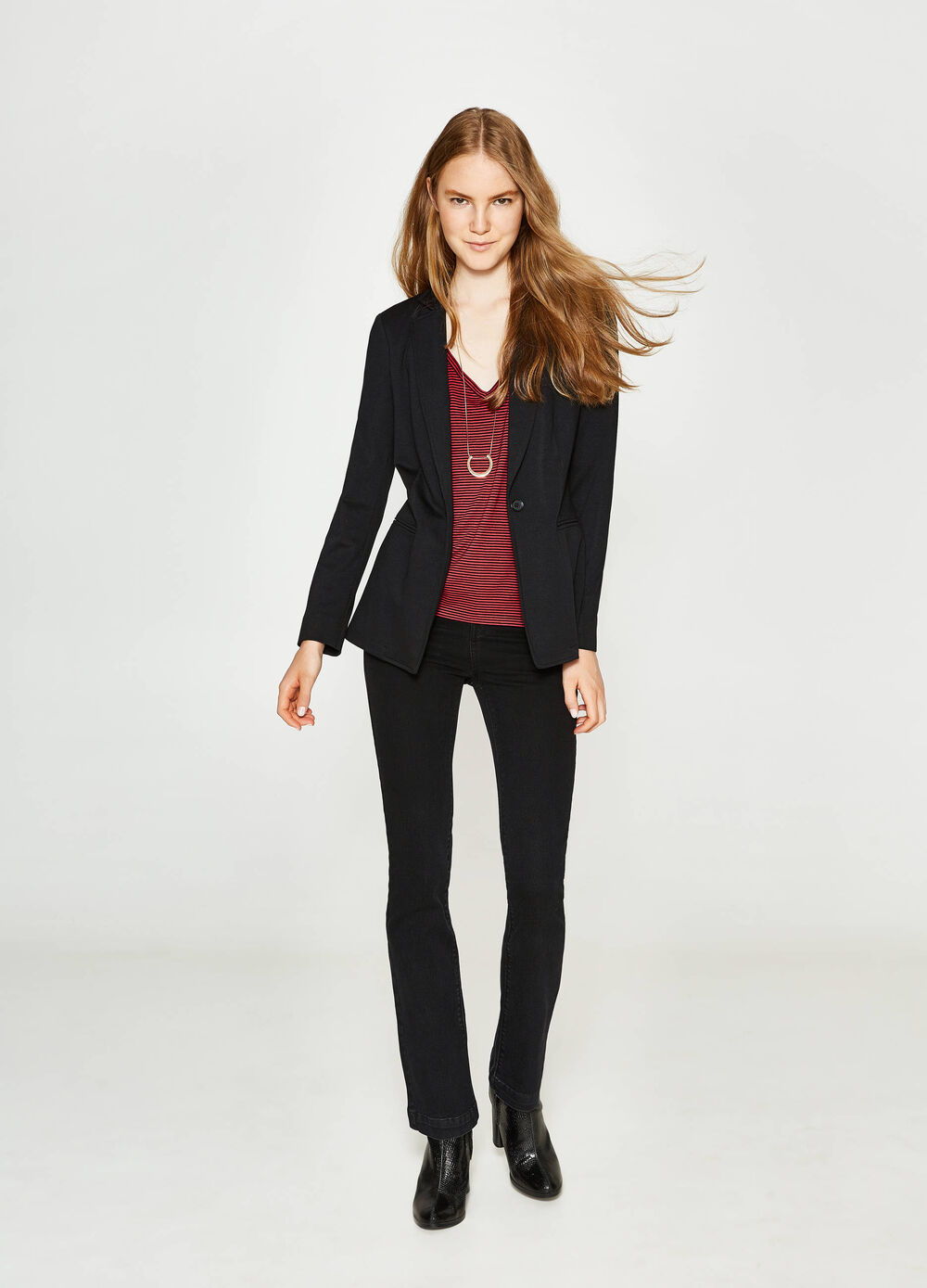 Stretch viscose blazer with lapels