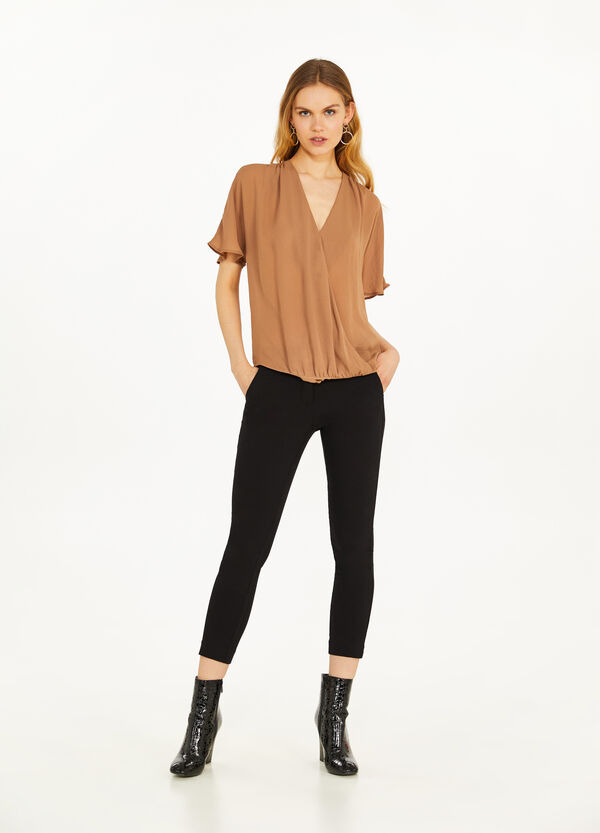 Crossover blouse in georgette