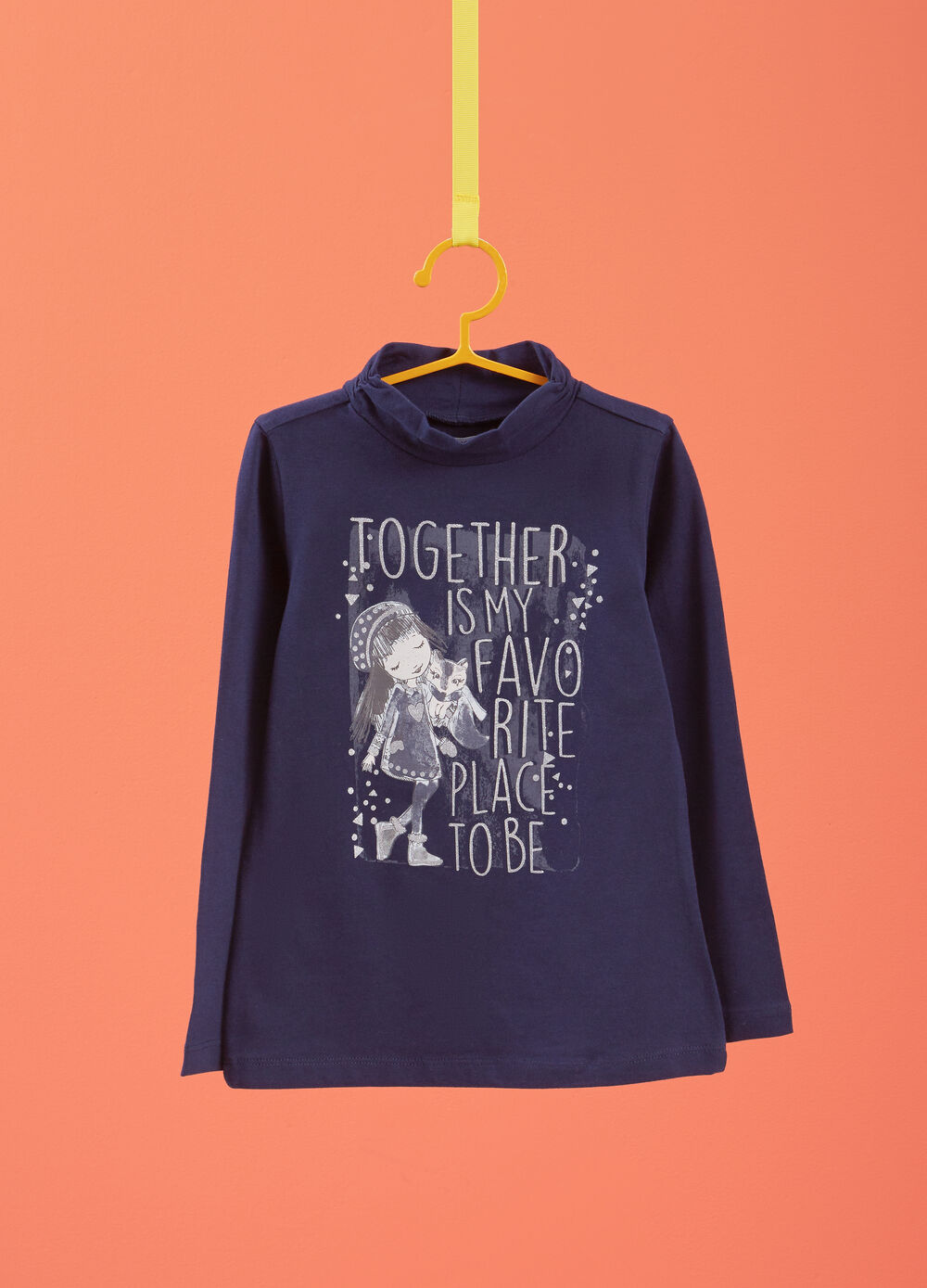 Stretch cotton T-shirt with long sleeves