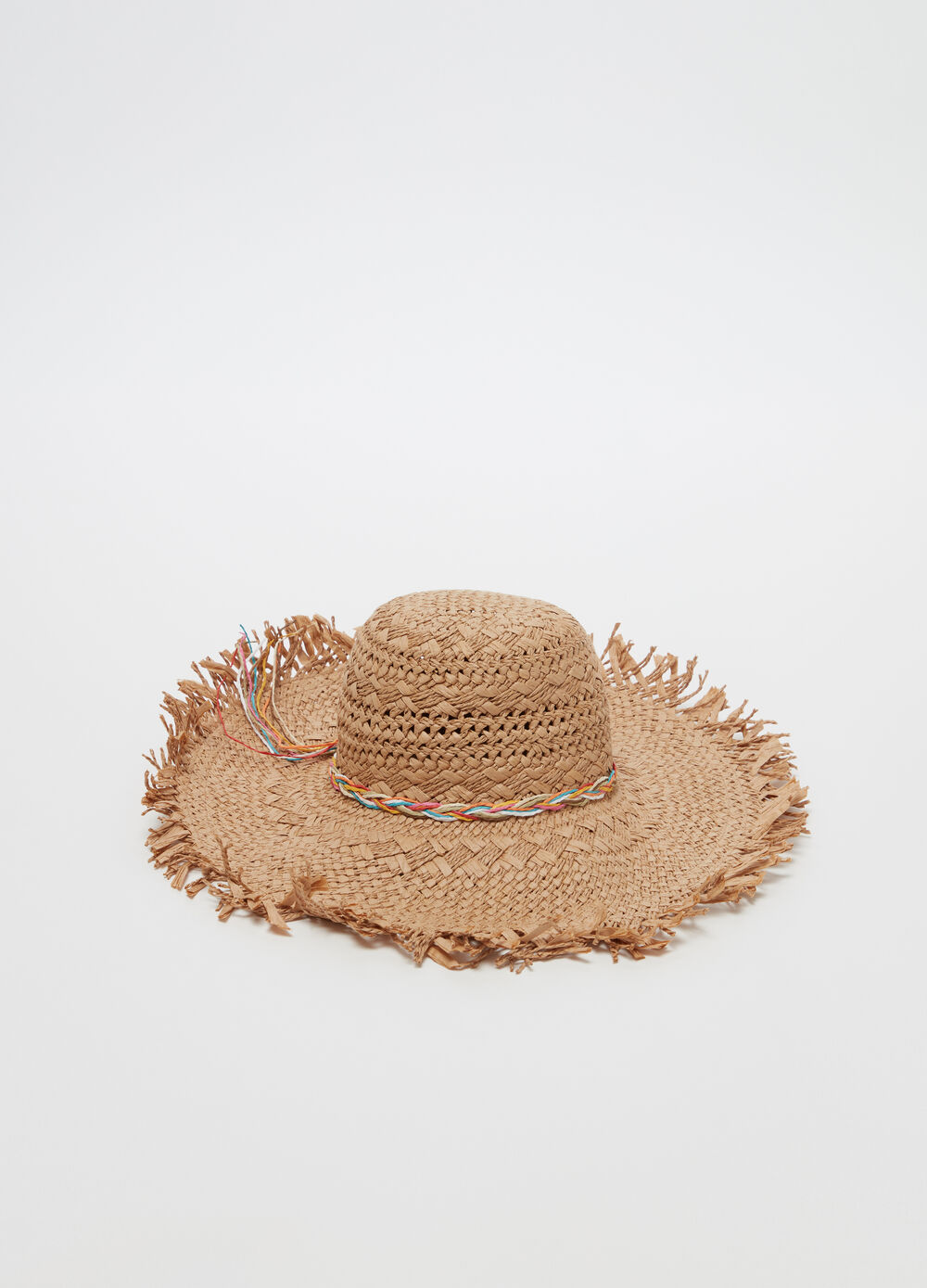 Straw-effect hat with wide fringed brim