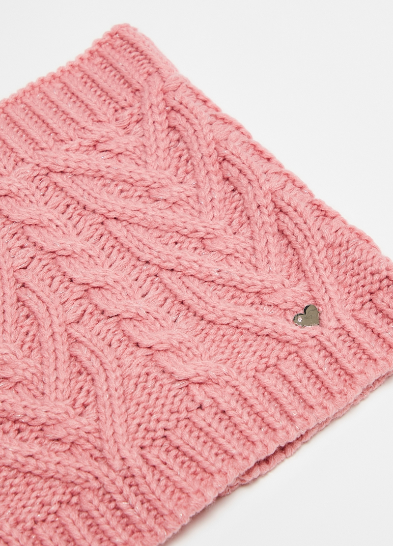 Neck warmer with lurex and braided motif image number null